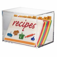 "Amazon.com: Clear Acrylic Recipe Box with 4"" x 6"" Index Cards: Home & Kitchen"