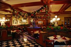 Tony's Town Square Restaurant at Christmas on Main Street, USA in the Magic Kingdom, Walt Disney World, Florida