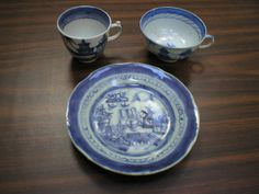 """From the archives of Chatham Historical Society: Set of Antique Canton china, blue & white, 5 - 6"""" plates, 4 matching cups, 2 5/8 X 2 3/4;  one cup 3 3/4 X 2. #atwoodhouse, #chatham, #canton, #china, #cups, #plate, #capecod, #chathamhistoricalsociety"""