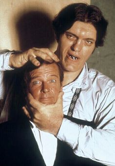 Roger Moore as James Bond and Richard Kiel as Jaws from The Spy Who Loved Me -1977- promotional photo