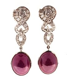 Natural Cabochon GIA Cert Fine Red Ruby Diamond Platinum Dangle Earrings | From a unique collection of vintage dangle earrings at https://www.1stdibs.com/jewelry/earrings/dangle-earrings/