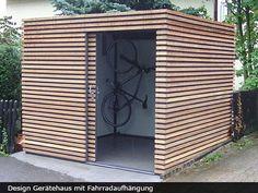 Exklusives Gartenhaus mit Schiebetür The most beautiful picture for wooden home decor , that suits y Garden Cabins, Modern Shed, Modern Carport, Garden Design, House Design, Bike Shed, Garden Buildings, Outdoor Living, Outdoor Decor