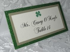 Irish St. Patrick's Day Green Glitter Tented Place Cards, Escort Cards, Name Cards, Colored Shamrock for Meal Choice - #004 by WeddingSparkles on Etsy https://www.etsy.com/listing/159356400/irish-st-patricks-day-green-glitter