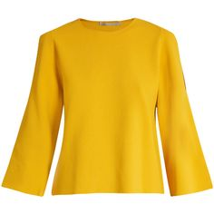 Stella McCartney Round-neck cut-out sleeve sweater ($588) ❤ liked on Polyvore featuring tops, sweaters, loose fitting sweaters, cut-out tops, cutout tops, yellow knit sweater and yellow top