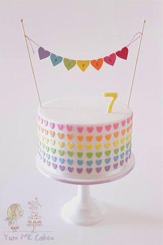 Rainbow Heart Birthday Cake  Rainbow layers of delicious white chocolate mud…