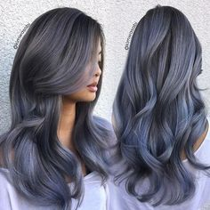 Fashion : Brown To Grey Ombre Hair Super Wonderful Steel Steel✠hairstyles 653655333408187478 Makeup With Black Hair, Grey Ombre Hair, Blue Grey Hair, Brown Hair With Blue, Grey Hair Colors, Silver Blue Hair, Beige Blonde, Ash Grey, Blonde Brunette
