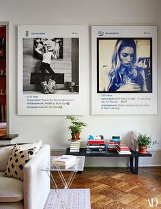 A pair of Richard Prince portraits, both featuring hart, hangs above a midcentury George Nelson bench. The Lucite side table is custom-made by Eric Beauchamp of one stop plastic shop.