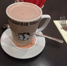 Patisserie Valerie in London, Just a cadburys powder one it the cakes and breakfast are really good!