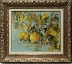 Ana Delgado : Quinces. Medium: Oil on canvas Measurements (cm): 80x71 Canvas measurements (cm): 55x46 Interior frame: Yes.  Excellent work with courageous colouring, on a different theme from what we are accustomed to see from this excellent painter. $1,028.16