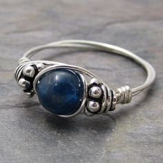Blue Apatite Bali Sterling Silver Wire Wrapped Ring ANY size. $12.00, via Etsy.