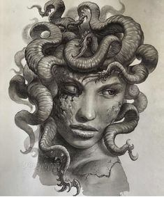 Medusa Tattoo Design, Tattoo Design Drawings, Tattoo Sketches, Drawing Sketches, Medusa Drawing, Medusa Art, Egyptian Tattoo Sleeve, Egypt Tattoo, Skull Hand Tattoo