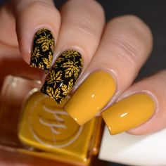 Painted Polish Fall Into Zen Cremes Stamped in Mustard stamping nail art