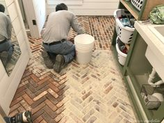 brick flooring Thinking about putting a brick floor in your home Read this post for information about where to buy brick tiles, cost, sealer, and more! Brick Tile Floor, Brick Pavers, Brick Flooring, Kitchen Flooring, Kitchen With Brick Floor, Brick Look Tile, Entryway Flooring, Porch Flooring, Diy Flooring