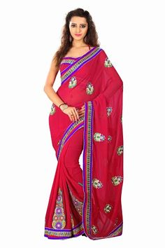Amazing #Red Georgette Lace Border #Saree with Sleeveless Blouse Shop Now @ http://goo.gl/9gYQd1 #NaarikeSangVastrang