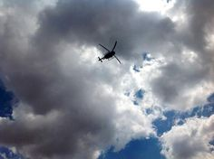 """""""helicopter arrived - I've been warned that there are community members carrying guns Carry On, Guns, Community, Clouds, Outdoor, Weapons Guns, Outdoors, Hand Luggage, Carry On Luggage"""