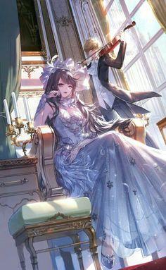 Anime Angel Girl, Anime Girl Dress, Cool Anime Girl, Cute Anime Pics, Beautiful Anime Girl, Kawaii Anime Girl, Manga Girl, Art Anime, Chica Anime Manga