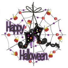 Happy Halloween Spider Web Applique Machine Embroidery Design Digitized Pattern