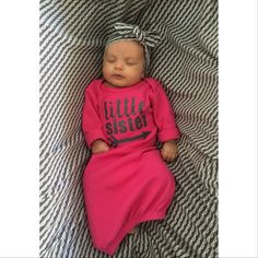 Baby girl Gown Little Sister READY TO SHIP Hot Pink and Black baby gown coming home outfit pink gown Gowns For Girls, Baby Girl Dresses, Baby Sister, My Baby Girl, Its A Girl, Baby Outfits, Little Girl Fashion, Kids Fashion, Cute Babies