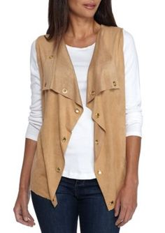 New Directions Women's Petite Size Faux Suede Drape Vest - Reuse Khaki - Petite Medium Petite