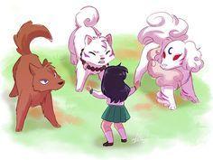 Tags: InuYasha, Wallpaper, Higurashi Kagome, Sesshoumaru, Kouga (InuYasha), InuYasha (Character), Artist Request, Youkai Yume, Sesshomaru (Dog)