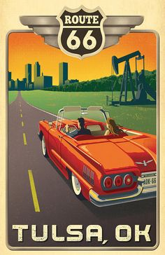 Tulsa, OK: Route 66 - Anderson Design Group has created an award-winning series of classic travel posters that celebrates the history and charm of America Missouri, Illinois, Party Vintage, Vintage Bar, Vintage Signs, Historic Route 66, Car Posters, Vintage Travel Posters, Vintage Advertisements