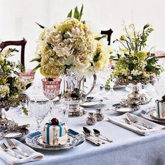 awesome 46 Stylish Silver and White Christmas Table Centerpieces Ideas Christmas Table Centerpieces, Green Centerpieces, Centerpiece Ideas, Bridesmaid Luncheon, Bridesmaids, How To Clean Silver, Wedding Decorations, Table Decorations, Decorating Tables