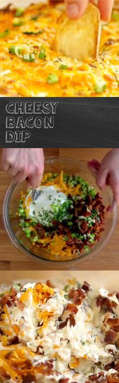 Cheesy Bacon Dip Recipe   Bacon makes everything taste better! Case in point with this easy to whip up dip. Mix cream cheese, sour cream, bacon and green onions and pair with your favorite 'dippers' - bread, pita chips, veggies, and more - for a party pleaser!
