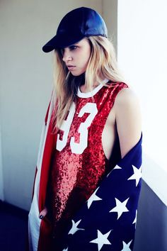 A red white and blue ensemble we can get behind.