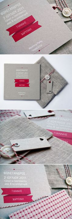Wonderful crafty invitations packaging & screen printing.  LOVE the fabric envelope.  Adorbs