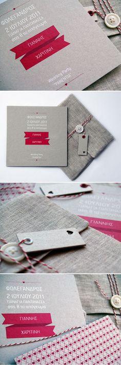Wonderful crafty invitations packaging & screen printing.  LOVE the fabric envelope.  Adorbs