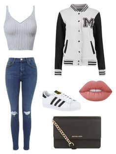 """""""Untitled #7"""" by aasemmidtun ❤ liked on Polyvore featuring Topshop, adidas, MICHAEL Michael Kors and Lime Crime"""