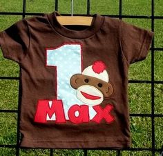 sock monkey birthday tee--birthday tees are all the rage! Sock Monkey Party, Sock Monkey Birthday, Monkey Birthday Parties, Birthday Ideas, Little Monkeys, Sock Monkeys, Curious George Party, Thing 1, Birthday Shirts
