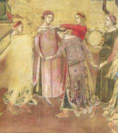 Ambrogio Lorenzetti - Danzatrici (Gli Effetti del Buono Governo in città) - affresco - 1338-1339 - Siena - Palazzo Pubblico, Sala dei Nove o Sala della Pace Medieval Music, Medieval Life, Medieval Clothing, Medieval Art, Renaissance Art, Siena, Dance Images, Medieval Costume, Dance