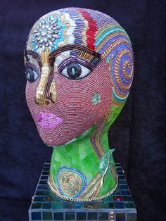 Mosaic Head - we sell new and used mannequin heads for projects like this at Mannequin Madness
