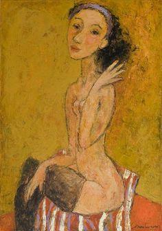 EVENING DRESSING by Svetlana Kurmaz, oil on canvas, 50x70cm, sold © Svetlana Kurmaz Figure Painting, Oil On Canvas, Folk Art, Artist, Paintings, Image, Russian Art, Dressing, Popular Art