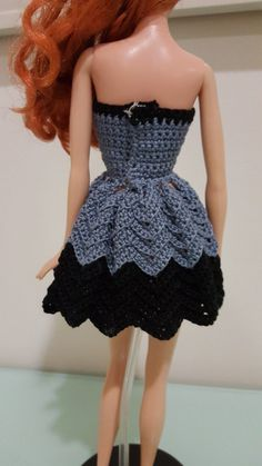 Back view of the Barbie Strapless Chevron Dress