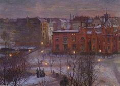 """""""Vue sur Nollendorfplatz"""", huile sur toile de Lesser Ury (1861-1931, Poland)"""