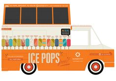 Designer Kelli Anderson decorated the outside of this bright orange ice cream truck, which has toured the US handing out free ice pops to. Solar Energy, Solar Power, Clever Design, Cool Designs, Picnic Pops, Kelli Anderson, Mobile Food Trucks, Cool Pops, Power Pop
