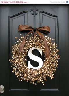 Personalized Wreaths - Wedding Wreaths - Berry Wreaths - Front Door - Sugar Cream Pie - Personalized Decor - Wooden Initials - Wedding Decor on Etsy, event Front Door Decor, Wreaths For Front Door, Door Wreaths, Diy Wreath, Burlap Wreath, Wreath Ideas, Initial Wreath, Wedding Wreaths, Wedding Decorations