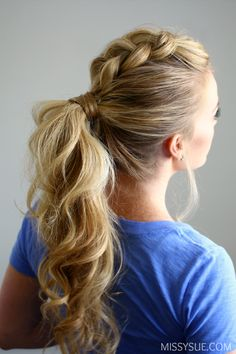 Dutch mohawk ponytail - 11 Braided Ponytail Tutorials Perfect for Fall Pretty Hairstyles, Braided Hairstyles, Prom Hairstyles, Perfect Hairstyle, Stylish Hairstyles, Perfect Ponytail, Hairstyle Ideas, Running Hairstyles, Five Minute Hairstyles