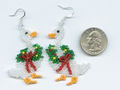Oh so Cute! Christmas Goose Hand Beaded Earrings ~  Seller: Amanda Demers  Up For Auction On: Thur, Oct 11; http://tophatter.com/auctions/7705?campaign=community
