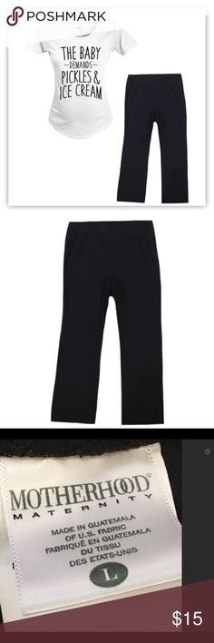 """Motherhood Maternity Size Large Black Pants ▪️Gently used Motherhood Maternity size large black pants with elastic waist.  ▪️Made with 71% Polyester, 27% Rayon and 2% Spandex.  ▪️Inseam is 30"""".  ▪️The rise is 14"""" (women's, juniors, pants, bottoms, jeans) ▪️Top is NOT included Motherhood Maternity Pants"""
