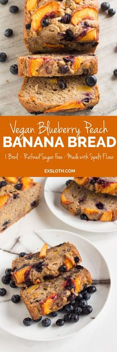 1 Bowl Blueberry Peach Vegan Banana Bread (made with spelt flour) from ExSloth.com | If you've got a tonne of extra end-of-season summer produce to use up, you've got to make this yummy AF vegan banana bread. It's the perfect combination of cakey and moist and only requires 1 bowl! Click through to grab the recipe or pin it for later