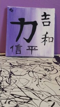 Ombre effect canvas with Chinese symbols for: strength, good luck, harmony, faith, and happiness