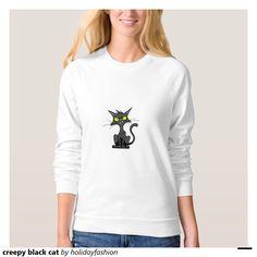 creepy black cat t shirt