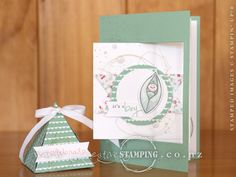 """The Friends & Flowers stamp set and Birthday Bouquet DSP are perfect for a new baby """"congratulations"""" card and the Pyramid Pals Thinlits Dies create cute triangular gift boxes.  www.creativestamping.co.nz 