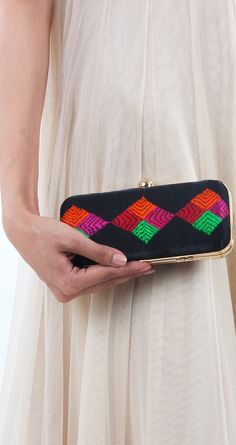 Suraj Mukhi clutch by UMEED. Shop at http://www.perniaspopupshop.com/whats-new/umeed-6460