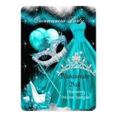 Masquerade Party Invitations Masquerade Quinceanera Birthday Party Teal 3a Card