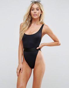 896716f2c7 Asos High Leg Elastic Waist Swimsuit Swimwear Fashion
