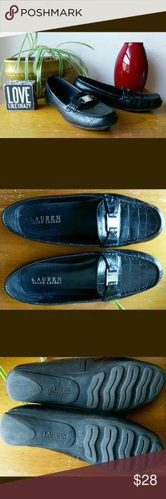 LRL Faux Croc Loafers These are terrific walking shoes - no need to sacrifice style just because you're on the go! Flexible rubber soles, genuine leather upper embossed with a croc pattern. Silver-tone logo medallion. In very good used condition. Lauren Ralph Lauren Shoes Flats & Loafers
